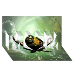 Wonderful Sea Turtle With Bubbles MOM 3D Greeting Card (8x4)