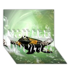 Wonderful Sea Turtle With Bubbles YOU ARE INVITED 3D Greeting Card (7x5)