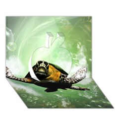 Wonderful Sea Turtle With Bubbles Apple 3D Greeting Card (7x5)