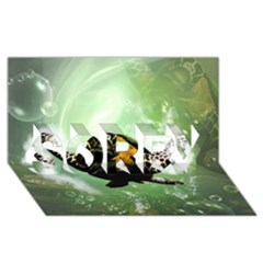 Wonderful Sea Turtle With Bubbles SORRY 3D Greeting Card (8x4)