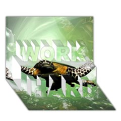 Wonderful Sea Turtle With Bubbles Work Hard 3d Greeting Card (7x5)