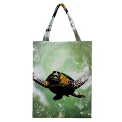 Wonderful Sea Turtle With Bubbles Classic Tote Bags