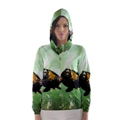 Wonderful Sea Turtle With Bubbles Hooded Wind Breaker (Women)