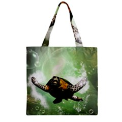 Wonderful Sea Turtle With Bubbles Zipper Grocery Tote Bags