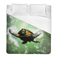 Wonderful Sea Turtle With Bubbles Duvet Cover Single Side (twin Size)