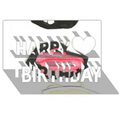 Troislips0002 Happy Birthday 3D Greeting Card (8x4)