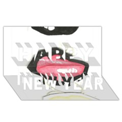Troislips0002 Happy New Year 3d Greeting Card (8x4)
