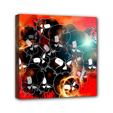 Black Skulls On Red Background With Sword Mini Canvas 6  X 6