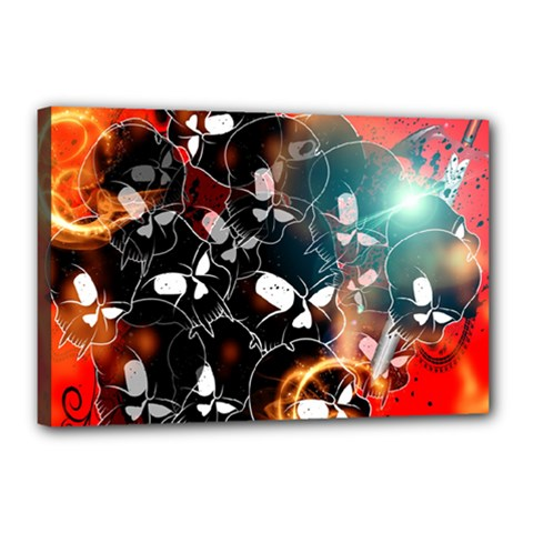 Black Skulls On Red Background With Sword Canvas 18  x 12