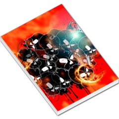 Black Skulls On Red Background With Sword Large Memo Pads