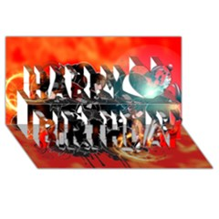 Black Skulls On Red Background With Sword Happy Birthday 3D Greeting Card (8x4)