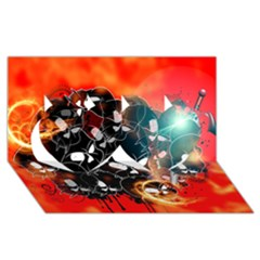 Black Skulls On Red Background With Sword Twin Hearts 3D Greeting Card (8x4)