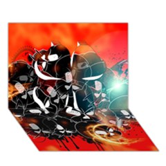 Black Skulls On Red Background With Sword Clover 3D Greeting Card (7x5)