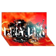 Black Skulls On Red Background With Sword BEST BRO 3D Greeting Card (8x4)