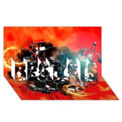 Black Skulls On Red Background With Sword BEST SIS 3D Greeting Card (8x4)