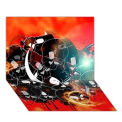 Black Skulls On Red Background With Sword Circle 3D Greeting Card (7x5)