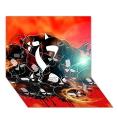 Black Skulls On Red Background With Sword Ribbon 3D Greeting Card (7x5)