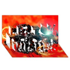 Black Skulls On Red Background With Sword Best Wish 3D Greeting Card (8x4)