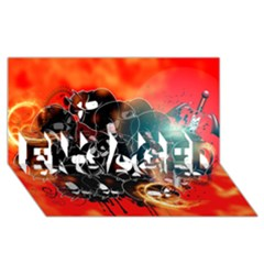 Black Skulls On Red Background With Sword ENGAGED 3D Greeting Card (8x4)