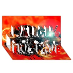 Black Skulls On Red Background With Sword Laugh Live Love 3D Greeting Card (8x4)