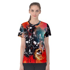 Black Skulls On Red Background With Sword Women s Cotton Tees