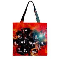 Black Skulls On Red Background With Sword Zipper Grocery Tote Bags
