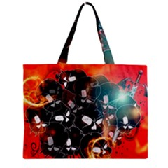 Black Skulls On Red Background With Sword Zipper Tiny Tote Bags