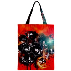 Black Skulls On Red Background With Sword Zipper Classic Tote Bags