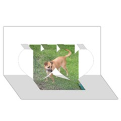 Carolina Dog Full 2 Twin Hearts 3D Greeting Card (8x4)