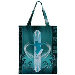 Snowboarder With Snowboard Zipper Classic Tote Bags