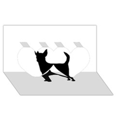 Chihuahua Silhouette Twin Hearts 3D Greeting Card (8x4)