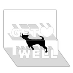 Chihuahua Silhouette Get Well 3D Greeting Card (7x5)