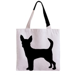 Chihuahua Silhouette Zipper Grocery Tote Bags