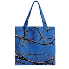 Leafless Tree Branches Against Blue Sky Grocery Tote Bags