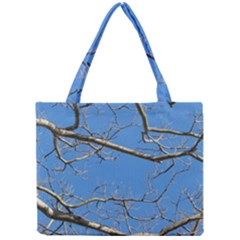 Leafless Tree Branches Against Blue Sky Tiny Tote Bags