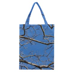 Leafless Tree Branches Against Blue Sky Classic Tote Bags