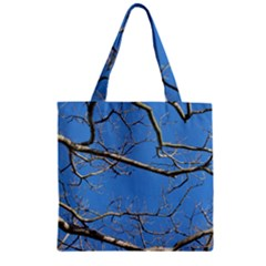 Leafless Tree Branches Against Blue Sky Zipper Grocery Tote Bags