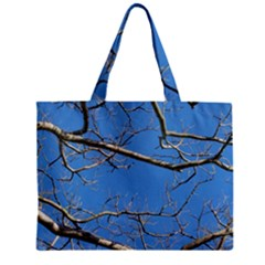 Leafless Tree Branches Against Blue Sky Zipper Tiny Tote Bags