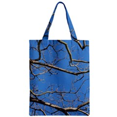Leafless Tree Branches Against Blue Sky Zipper Classic Tote Bags