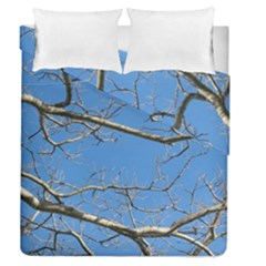 Leafless Tree Branches Against Blue Sky Duvet Cover (Full/Queen Size)