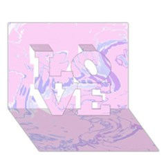 Unique Marbled 2 Baby Pink LOVE 3D Greeting Card (7x5)