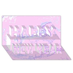 Unique Marbled 2 Baby Pink Happy New Year 3D Greeting Card (8x4)
