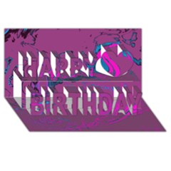 Unique Marbled 2 Hot Pink Happy Birthday 3d Greeting Card (8x4)