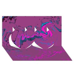 Unique Marbled 2 Hot Pink Twin Hearts 3d Greeting Card (8x4)