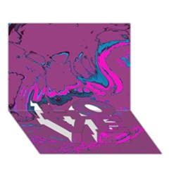 Unique Marbled 2 Hot Pink Love Bottom 3d Greeting Card (7x5)