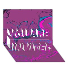 Unique Marbled 2 Hot Pink YOU ARE INVITED 3D Greeting Card (7x5)