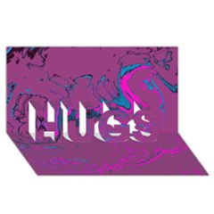 Unique Marbled 2 Hot Pink Hugs 3d Greeting Card (8x4)