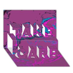 Unique Marbled 2 Hot Pink TAKE CARE 3D Greeting Card (7x5)