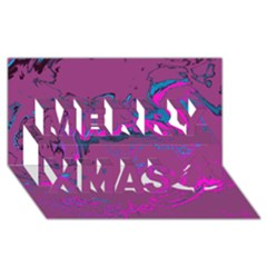 Unique Marbled 2 Hot Pink Merry Xmas 3D Greeting Card (8x4)