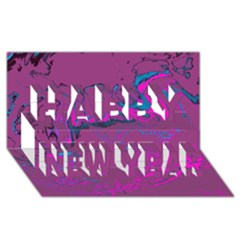 Unique Marbled 2 Hot Pink Happy New Year 3d Greeting Card (8x4)